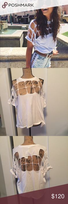 LF/Emma and Sam White Cut out T NWT. No trades!!! Amazing and versatile LF Tops Tees - Short Sleeve