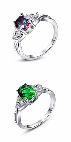 333c30e30 Green Multi Stone Rings For Women Vintage Wedding Ring Jewelry AAA Cubic  Zirconia Stone Anillos Mujer