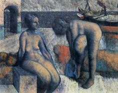 """the-paintrist: """" blueruins: """"Bathers by Armando Morales """" Armando Morales (January 1927 – November was an internationally renowned Nicaraguan painter. Morales is considered one of the most important painters in Nicaragua. Futurism Art, Ashcan School, Latin Artists, Hudson River School, Henri Rousseau, Academic Art, Pre Raphaelite, Post Impressionism, Oil Painting Reproductions"""