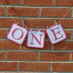 "Reversible ""one"" ""two"" banner. This banner is a great inexpensive addition to any photography prop bag! $6.00 Little Bits Homemade"