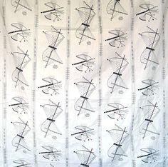 White modernist textile. Nautilus, Cotton Panel,  (Esther Fitzgerald Rare Textiles)