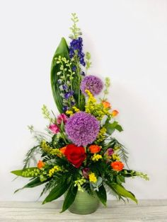 Allium and Delphinium Summer Pot Arrangement: Booker Flowers and Gifts Flowers For You, Summer Flowers, Vibrant Colors, Colours, Same Day Flower Delivery, Flowers Delivered, Allium, Delphinium, Season Colors