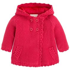 Red Pompom Knitted Coat