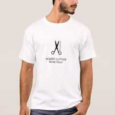 #professional - #Barber shop simple name title black white branded T-Shirt