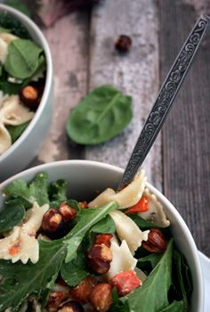 warm pasta salad with hazelnuts.