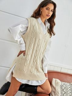Spring Outfits For Teen Girls, Cute Lazy Outfits, Outfits For Teens, New Outfits, Girl Outfits, Fashion Outfits, Influencer, Knitwear Fashion, Knit Vest