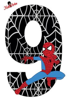 Spiderman letras Birthday Scrapbook, Baby Scrapbook, Imprimibles Halloween, Black Spiderman, Twin Birthday, Party Props, Alphabet And Numbers, Floral Illustrations, Birthday Images