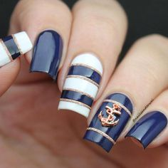 What Christmas manicure to choose for a festive mood - My Nails Anchor Nail Designs, Nautical Nail Designs, Nautical Nail Art, Anchor Nails, Aztec Nails, Chevron Nails, Cruise Nails, Sea Nails, Halloween Acrylic Nails