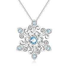 YJEdward White Crystal Necklace 925 Sterling Silver Birthday Austrian Crystal