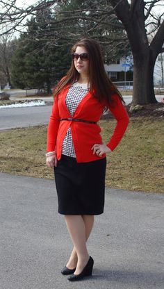 Happy Medley: red sweater, black pencil skirt, bib necklace, Sunday outfit