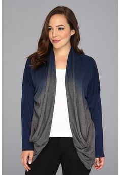 DKNY Jeans - Plus Size Dip Dye Cardigan (Med Chrc Grey)
