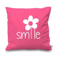 Smile Quote Cushion Cover Gift Flower Daisy Hippy by TheHenCompany