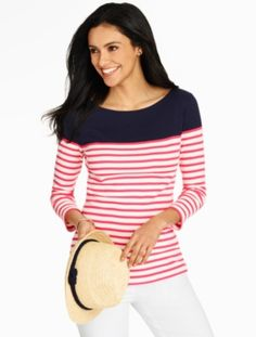 The perfect tee to layer over - bright, soft and nautical two-tone stripes.