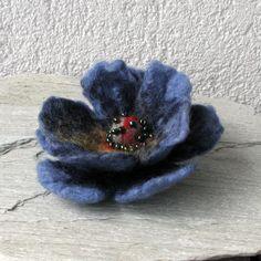 Felted Brooch felt BLUE Nuno Nunofelt Silk Flower  Boho. $19.00, via Etsy.
