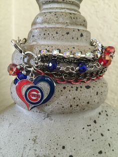 Chicago Cubs Baseball Multichain Rhinestone by alliefayedesigns