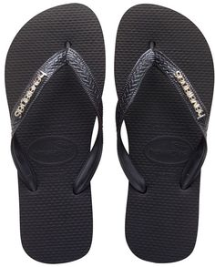 Havaianas Logo Metallic Flat Flip Flop - Black Grey     To view further for  this item b59739ea8
