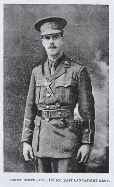 Sec-Lieut. Alfred Victor Smith VC - 'D' Coy. 1st/5th Bn. East Lancashire Regt. Posthumous VC awarded For most conspicuous bravery at Helles, Gallipoli 22.12.1915. 'His magnificent act of self-sacrifice undoubtedly saved many lives'. C-LG 3.3.1916. KIA aged 24. Buried Twelve Tree Copse Cemetery although the precise location of his grave is not known. Special Memorial C. 358. b. Guildford, Surrey 22.7.1891. Son of William Henry and Louisa Smith, of The Chief Constable's Office, Town Hall…