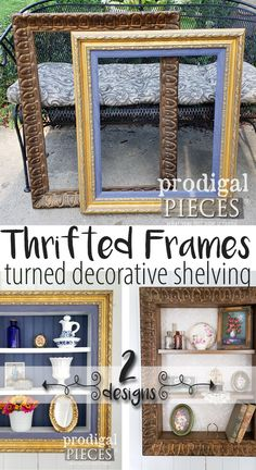 55527a954fcb Grab those thrifted store cast-offs and create some repurposed picture frame  shelves for your