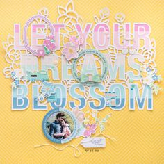 Spring Layout with Free Cut File I Flora Farkas – Pinkfresh Studio 12x12 Scrapbook, Scrapbook Albums, Scrapbooking Layouts, Image Layout, Yellow Paper, Tiny Flowers, Cutting Files, Card Stock, Flora