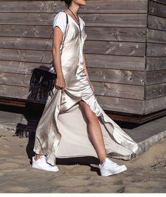 White t-shirt, gold silk slip dress & white trainers | @styleminimalism