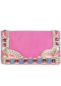 Glitzalicious ♥s ♥s ♥s ♥s this pin of Matthew Williamson Geometric Trim pink Clutch purse Pink Clutch, Clutch Purse, Gold Clutch, Pink Handbags, Purses And Handbags, Diy Sac, Fab Bag, Studded Purse, I Believe In Pink