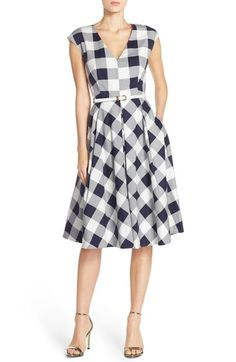 Eliza J Gingham Stretch Cotton Fit & Flare Dress (Regular & Petite) available at #Nordstrom