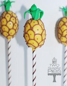 Pineapple cake pops for Hawaiian theme bridal shower.