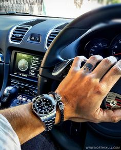 Fan Instagram Pic ! | While behind the wheel of his Porsche @h2oil posted a cool photo of his Rolex DeepSea Sea-Dweller Watch nicely paired with our Premium Black Nappa Leather & Silver Twin Skull Bracelet. Nice combo ! | Available at Northskull.com | For a chance to get featured post a cool photo of your Northskull jewelry with the tag #Northskullfanpic on Instagram