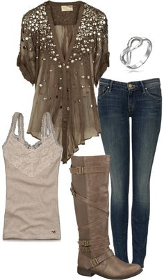 straight legs, infinity ring, cami, riding boots and brown sequin top.  Love the top, but plus please!
