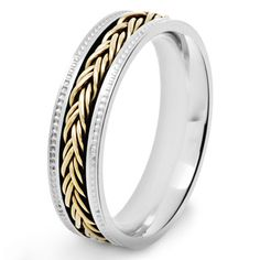 Shop for Crucible Two Tone Polished Stainless Steel Braided Rope Inlay Milgrain Comfort Fit Ring - 6mm Wide. Free Shipping on orders over $45 at Overstock.com - Your Online Jewelry Shop! Get 5% in rewards with Club O!