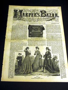 COMPLETE ORIGINAL ISSUE OF HARPERS BAZAR -- A REPOSITORY OF FASHION, PLEASURE AND INSTRUCTION.    July 25, 1868    NO PATTERNS IN THIS ISSUE -- But lots of pictures of Victorian fashions and needle work / netting patterns.      CONDITION: Very Good--Removed from a very old bound collection of Harpers Bazar Newspapers from the 1800s. [NOTE: Front page partially detached. Otherwise fine.]    SEE MULTIPLE PICTURES FOR PRECISE CONDITION. Size: 11 x 15 1/2 as issued.      While this issue does…