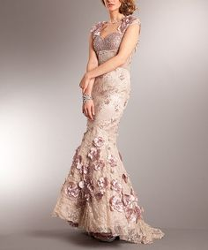 Look what I found on #zulily! Amelia Couture   Dusty Rose Lace Floral Embroidery Gown by Amelia Couture #zulilyfinds