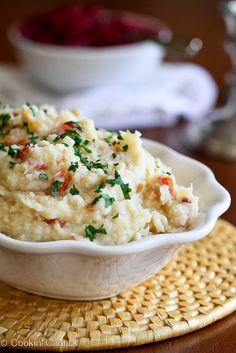 Vegan Mashed Potato & Cauliflower Recipe with Roasted Peppers & Caramelized Onions | cookincanuck.com #Thanksgiving #vegan