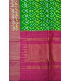 Green Pure Handloom Ikkat Silk Saree