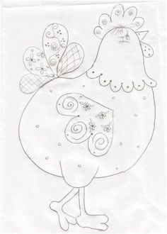 This would be great stitched or appliqued. This chicken just cracks me up