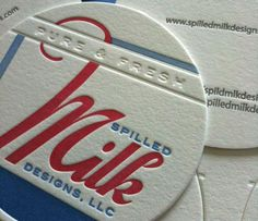 Business card, printed on letterpress in two colors, with blind deboss and circular die cut.