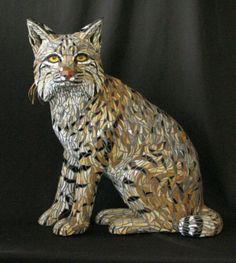 Mosaic Bobcat outdoor sculpture by P J Halloran