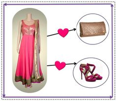 Pair your gorgeous Kanika Kedia anarkali with a pretty purple Jimmy Choo shoes and striking Louis Vuitton clutch.