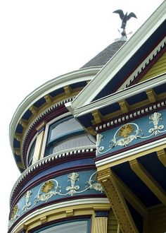 Architectural details on a San Francisco Victorian house.