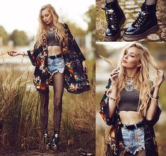 Get this look: http://lb.nu/look/6750392  More looks by Anila ♡: http://lb.nu/anilat  Items in this look:  Nill'in Kimono, Schuhtempel24 Boots, Nill'in Necklace, Coal N Terry Shorts   #edgy #street #vintage