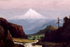 "WILLIAM SAMUEL PARROTT (American, 1843-1915) Oil on canvas ""Mt. Hood at Sunset"" 14"