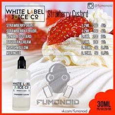 White Label Juice (Strawberry Custard) - сливки, зефир и безе, в сочетании с клубникой дают потрясающий вкус, который вы сразу полюбите