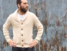 Vintage 1970s Shawl Collar Aran Knit Mens Sweater. $75.00, via Etsy.