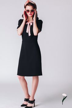Ideal for both office and romantic date. Elegant dress made of beautiful gauzy crepe. Sleeves finished with pink cuffs. Feminine and chic. Designed by RabbitRabbit, now on nelou.com!  #berlin #krakow #poland #rabbit #fashion #womenswear #independent #designer #black #dress #jackie #summer #chic #feminine #elegant #readytowear #goingout #lookingood #feelingfantastic #welove #womenpower
