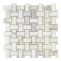 Calacatta Gold Italian Calcutta Marble Polished Basketweave Mosaic Tile with Calacatta Gold Marble Dots Calcutta Marble, Calacatta Gold Marble, Marble Tiles, Calacatta Oro, Color Marble, Gray Marble, Tiling, Stone Mosaic Tile, Mosaic Tiles