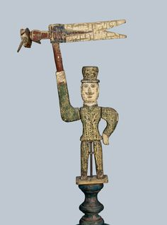Carved and Painted Folk Art Whirligig of a Hatted Gentleman Holding a Flag