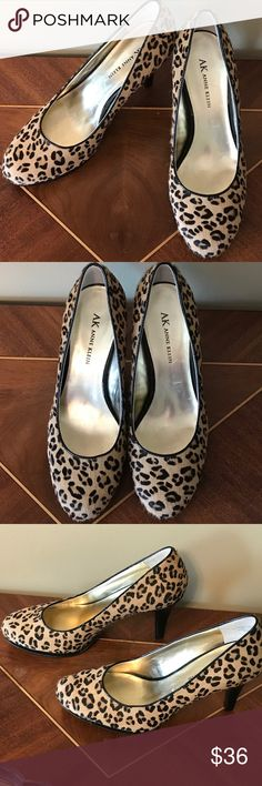 """Ann Klein Cheetah Pony Hair Heels 7M AK Ann Klein Cheetah Pony Hair Mules. Size 7M. 3 1/4"""" Heels. Worn to a wedding. Purchased at Lord & Taylor. Leather Uppers. REAL Fur! 🚫trades. Please ask all questions prior to buying Anne Klein Shoes Heels"""