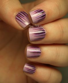 Waterfall Nail Art: four color colour design: light purple base (NYC Lavender Cupcake) with purple and pink stripes (Sally Hansen Plum Luck, Rimmel Purple Reign, NYC Power of Elements, China Glaze Tart-y for the Party). #spring #summer 2013 #tutorial #easy #nailart #manicure | The Nailasaurus