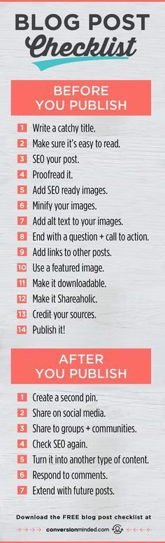 This blog checklist