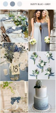 Dusty Blue Wedding Color Combos inspired by 2017 Pantone Elegant dusty blue and gray wedding colors Gray Wedding Colors, Winter Wedding Colors, Wedding Color Schemes, Winter Weddings, Burgundy Wedding, Wedding Blue, Elegant Wedding Colors, Wedding Ideas In Blue, Wedding Colour Palettes